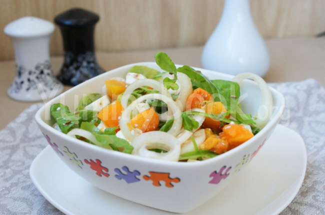 Pumpkin Salad with Feta and Arugula