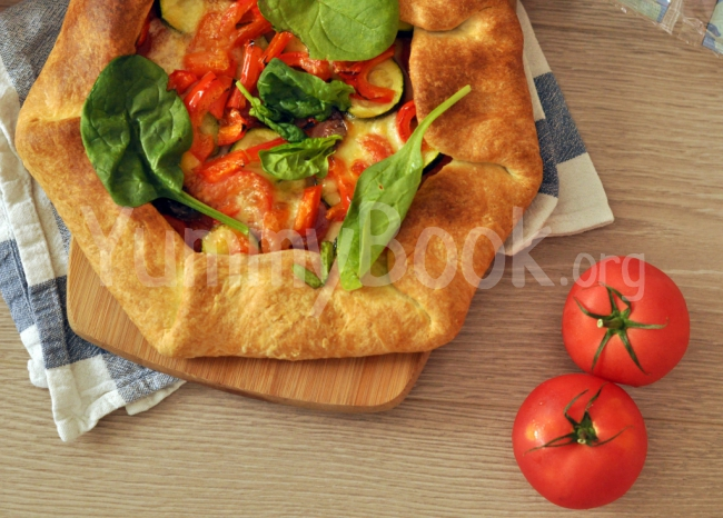Galette with Salami, Mozzarella and Vegetables