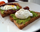 Sandwich with Avocado, Poached Egg and Crispy Bacon